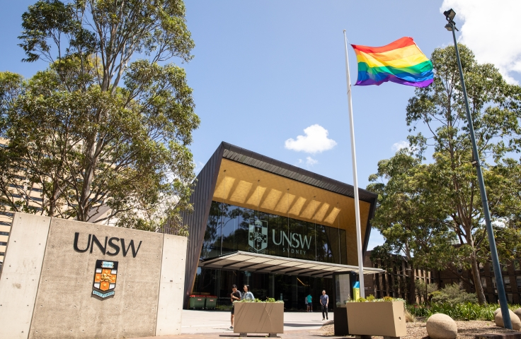 The rainbow flags flies outside Clancy Auditorium on UNSW Kensington Campus.