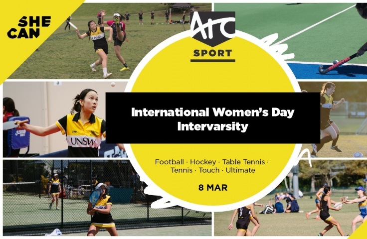 A variety of images of women playing sport.